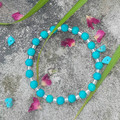 Turquoise natural gemstone & clear silver lined glass beaded bracelet