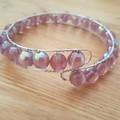 Purple Czech pressed glass beaded cuff bracelet