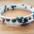 Boho turquoise malachite and white seed bead memory cuff bracelet