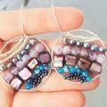 Statement amethyst, agate & pearl circle 925 sterling silver hook drop earrings