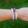 Keepin It Rosey ~ Gemstone Beaded Bracelet (Rose Quartz)