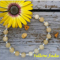 Yellow Jade gemstone & clear silver lined glass beaded bracelet
