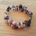 Pink rhodonite and mahogany obsidian cuff bracelet, beaded memory wire bangle