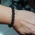 Awaken Your Inner Warrior ~ Gemstone and glass beaded stretch bracelet (Black Ob