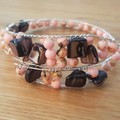 Statement pink howlite and mulberry mother of pearl beaded cuff bracelet