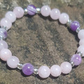 Pretty As A Picture ~ Gemstone and Glass Beaded Bracelet (Rose Quartz and Amethy