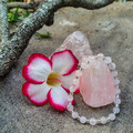 Rose Quartz natural gemstone & clear silver lined glass beaded bracelet