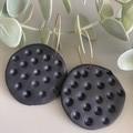 Polymer Clay Earrings - Full moon on gold hoop