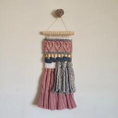 Hand woven wall hanging - three pink hearts