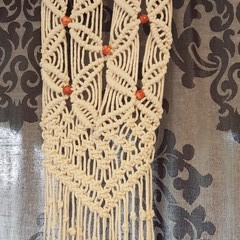 Macrame Wall Hanging with red beads