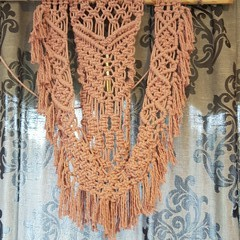 Pink  Macrame Wall Hanging with gold beads
