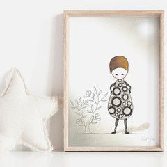 Annie in Motion Art Print   Artwork for Girls   Kids Wall Art   Watercolour