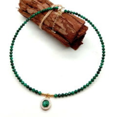 New Genuine MALACHITE 18K Gold-Plated Delicate Necklace