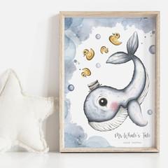Mr Whale's Tale 2 Personalisable Art Print   Nursery Art Print   Whale Art