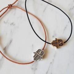 Metal Hamsa Hand bead bracelet , Gold Silver  Hand of Fatima Protection bracelet