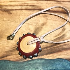 Handmade Glass Bead Leather Necklace Red
