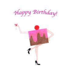 Birthday Card: Dancing Cake