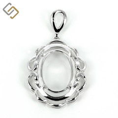 Elegant curve-framed oval pendant with soldered loop and bail in sterling silver