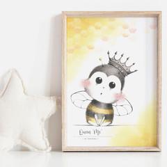 Queen of 'ME' II Art Print   Nursery Art Print   Bee Art   Watercolour and Graph
