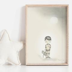 Boy meets Robot 1 Art Print   Hand Illustrated   Wall Art for Boy