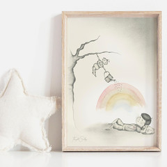 Boy meets Robot 3 Art Print   Hand Illustrated   Nursery Print   Art for Boys