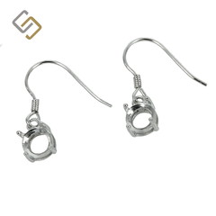 Earrings with 6mm Round Basket Setting in Sterling Silver
