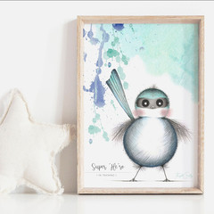 Super 'Me-ro' Art Print   Nursery Art Print   Boys Art Print   Fairy Wren Art