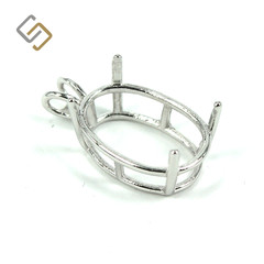 Oval Shape Basket Pendant Setting with 4-Prong Mounting in Sterling Silver