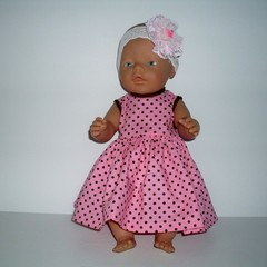Dolls clothes for Baby Born doll  dress and headband.