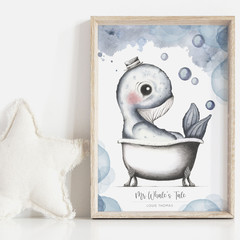 Mr Whale's Tale 1 Personalisable Art Print   Nursery Print   Art Print for Boy