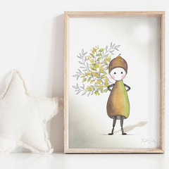 Annie In Bloom Art Print   Girl Art Print   Nursery Art Print   Minimalist Art