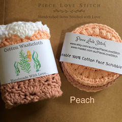 Washcloth + 3 Scrubbies, pack 4 pcs, 100% cotton, reusable, washable