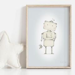 Frederik the Robot Art Print | Hand Illustrated | Nursery Print | Boys Art Print