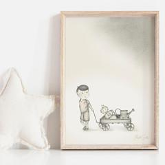Boy meets Robot 2 Art Print | Hand Illustrated | Wall Art for Boys | Nursery