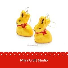 Gold Bunny dangles earrings, Easter chocolate bunny earrings