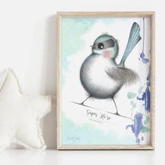 Super 'Me-ro' 2 Art Print | Nursery Art | Neural Art | Fairy Wren Art | Art for