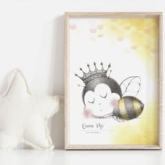 Queen of 'ME' Nursery Art Print   Giclée   Bee Art   Gift for Girl