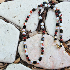 Black , White & Red Necklace