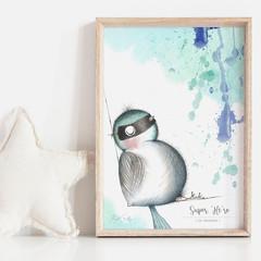 Super 'Me-ro' 3   Art Print   Nursery Art Print   Fairy Wren   Art Print for Boy