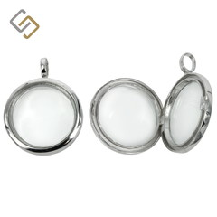 Round Glass locket in Sterling Silver
