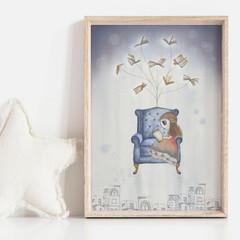 Book Magic Art Print   Hand Illustrated   Nursery Print   Wall Art for Girls