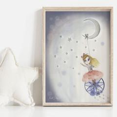 Dream Catcher Art Print | Hand Illustrated | Nursery Print | Wall Art for Girls