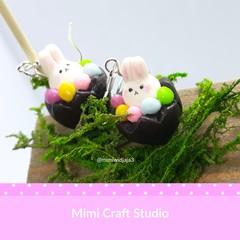 Easter chocolate bunny eggs dangle earrings, Easter earrings, Easter gift