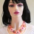 Ladies Button necklace - Pink Swirls