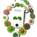 Button necklace and stud earrings - Shimmer me Shamrocks!