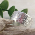 Floral Band Ring, Upcycled from Sterling Silver Coin. Custom Size.