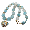 New Genuine LARIMAR 18K Gold-Plated Beaded Heart Necklace