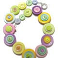Ladies button necklace - Pretty Pastel