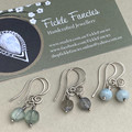 Silver Spirals - Silver and Gemstone Earrings