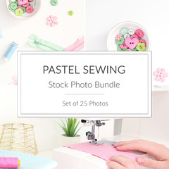 Sewing Stock Photo Bundle - Set of 25 Styled Photos - Pink